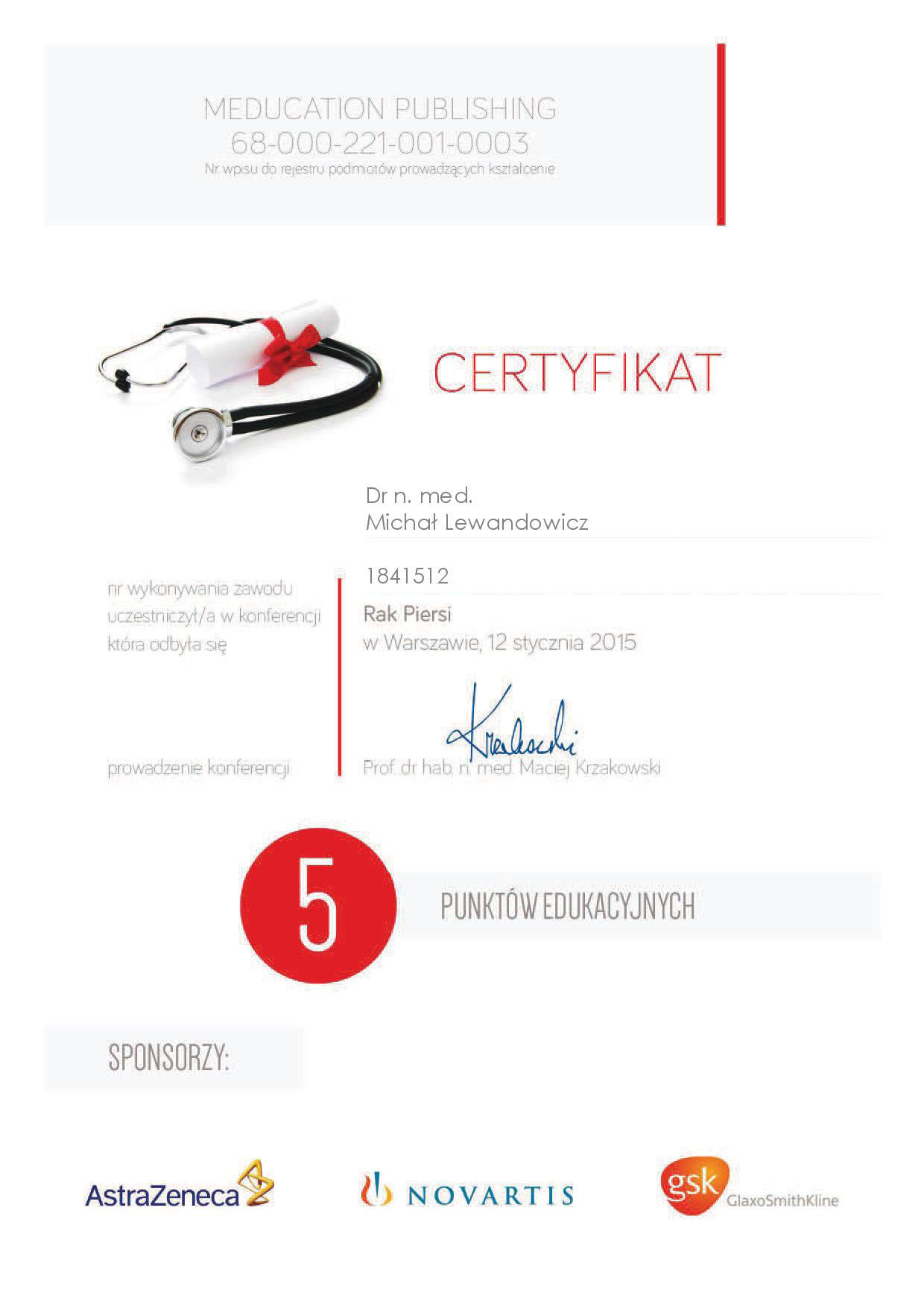 Cert 2015 01 12 Rak piersi - dr n. med. Michał Lewandowicz