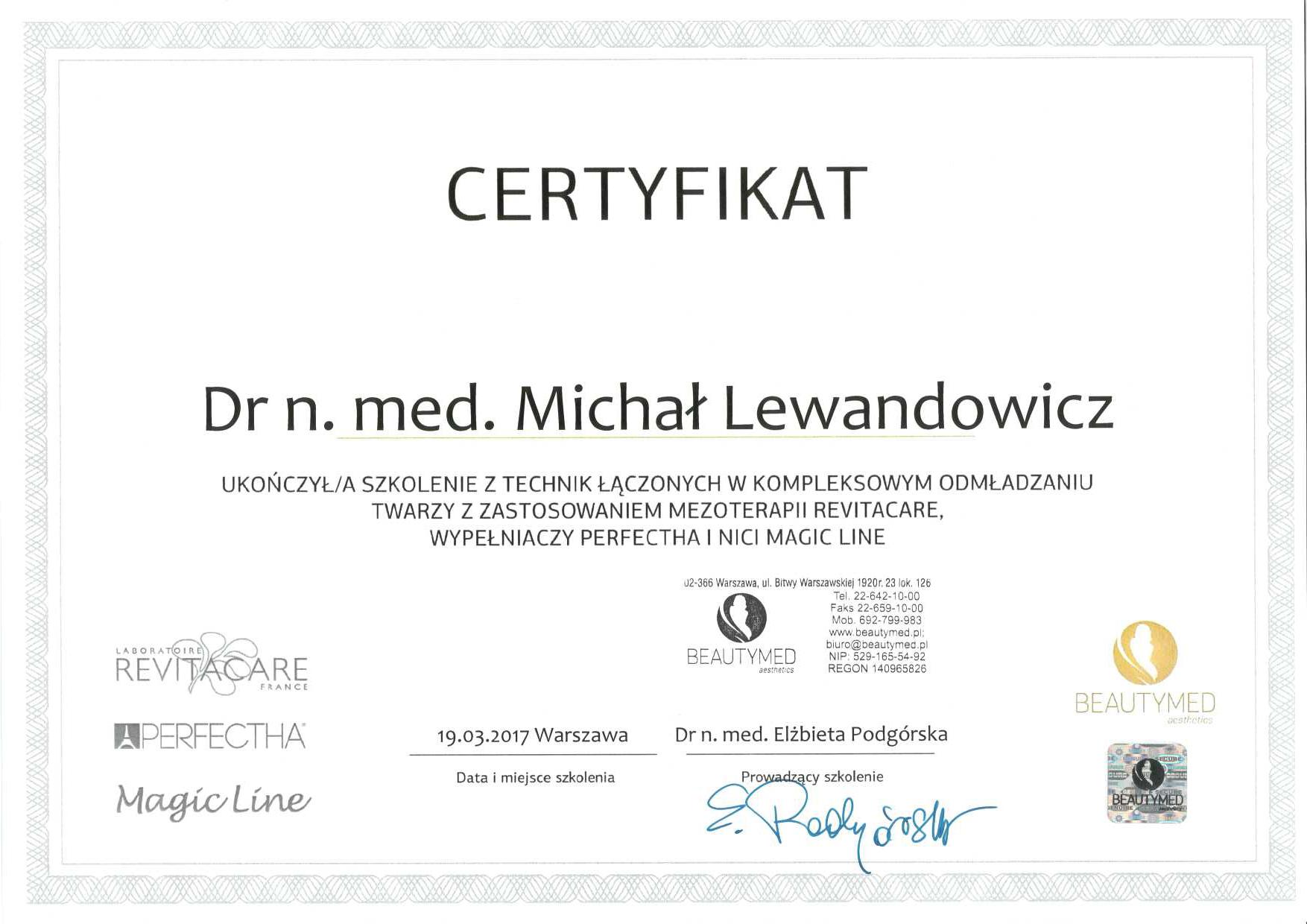 Cert 2017 03 19HAnici - dr n. med. Michał Lewandowicz