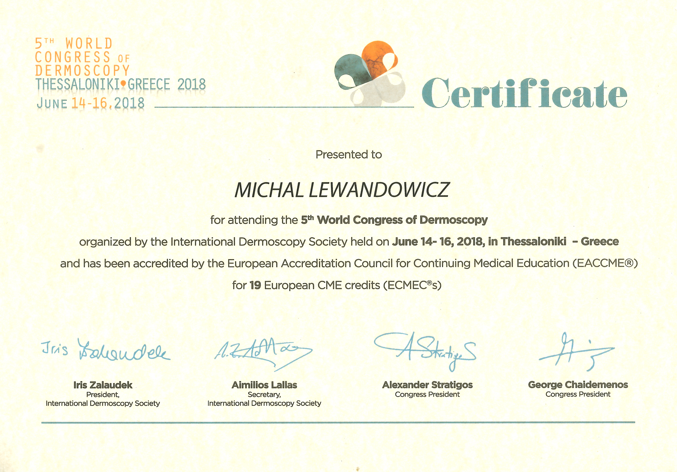 Cert 2018 5th World Congress IDS - dr n. med. Michał Lewandowicz
