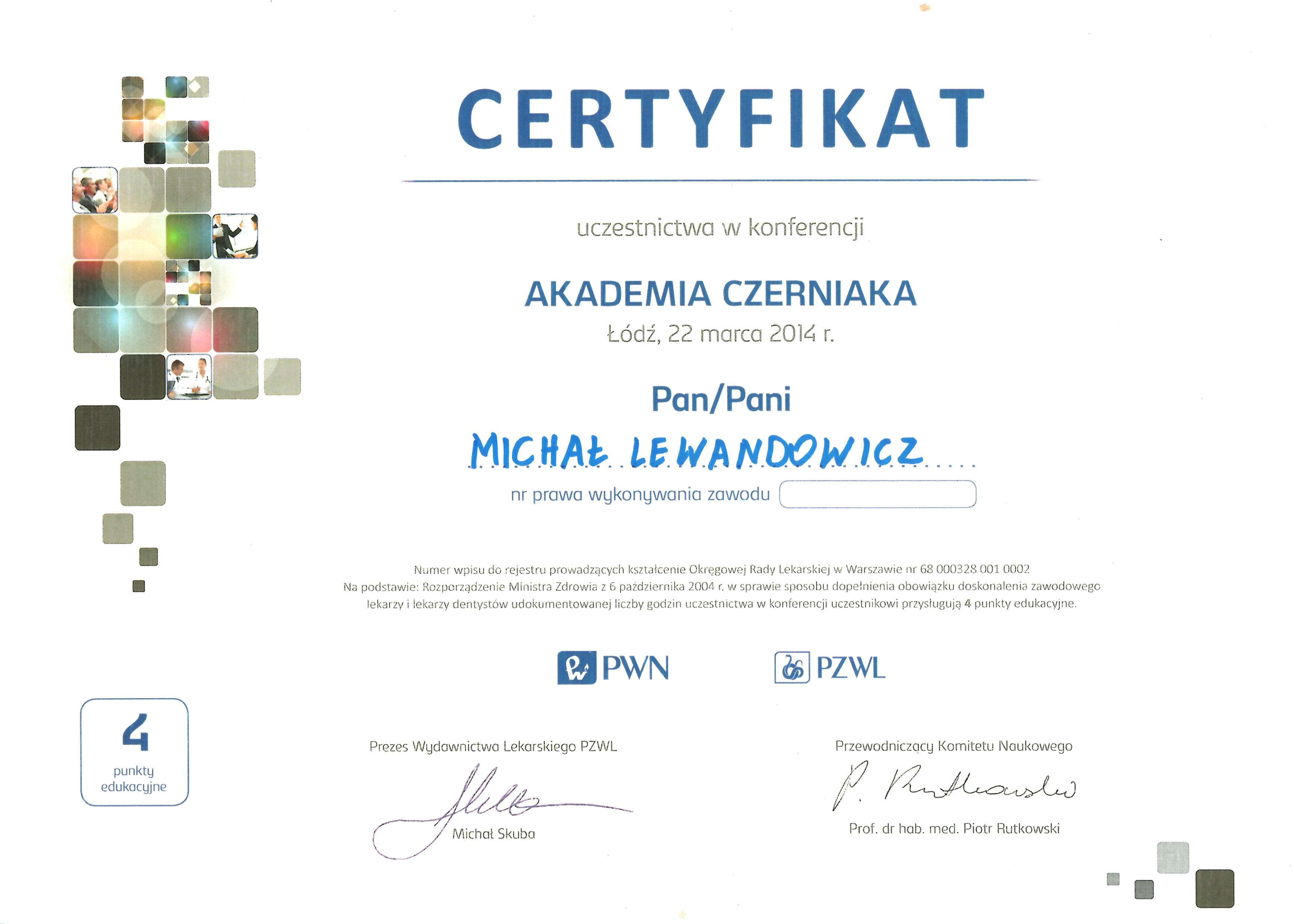 Cert AkadCz2014 - dr n. med. Michał Lewandowicz