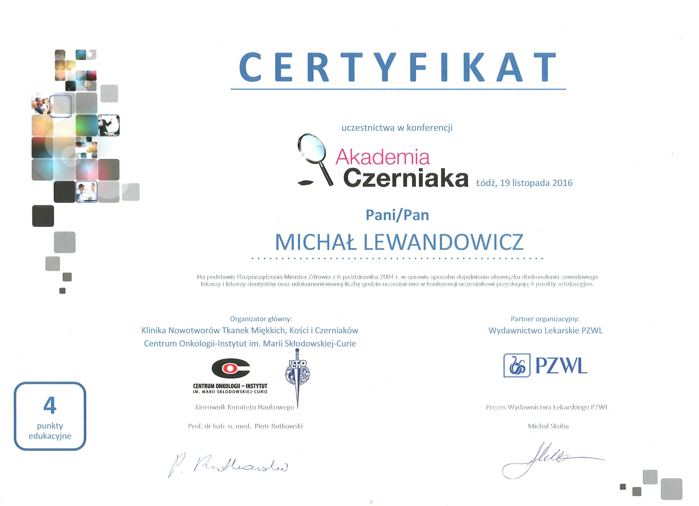 Cert AkadCz2016 - dr n. med. Michał Lewandowicz