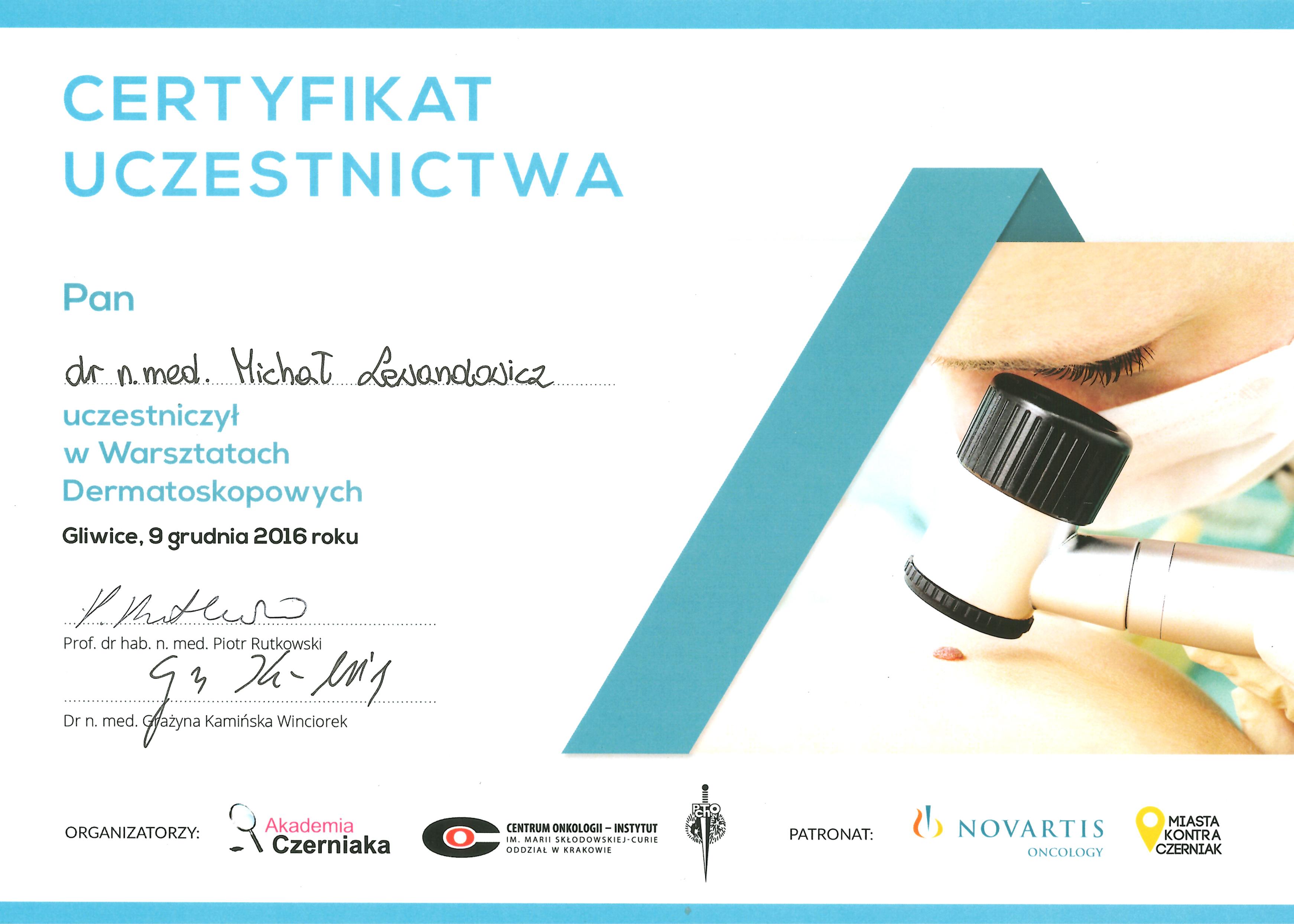 Cert Dermatoskopia 2016 - dr n. med. Michał Lewandowicz