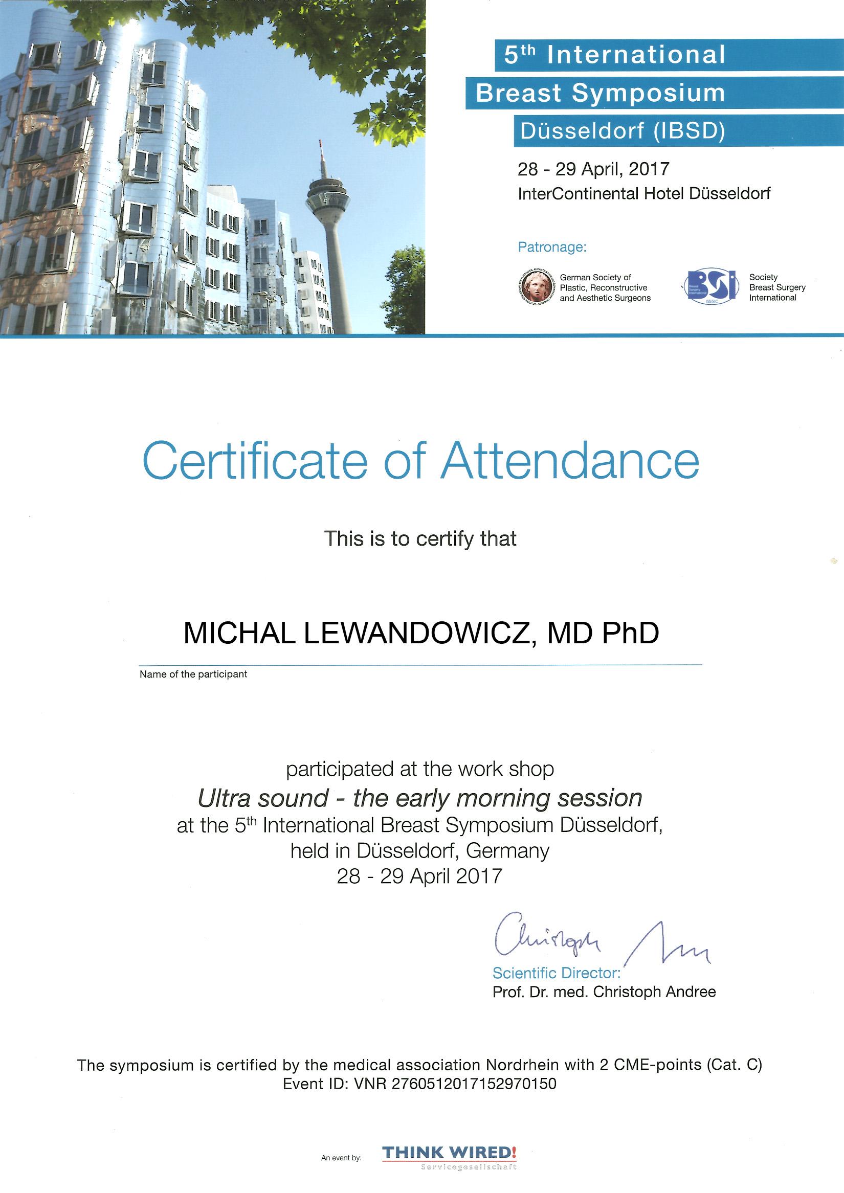 Cert Dusseldorf2017 usg - dr n. med. Michał Lewandowicz