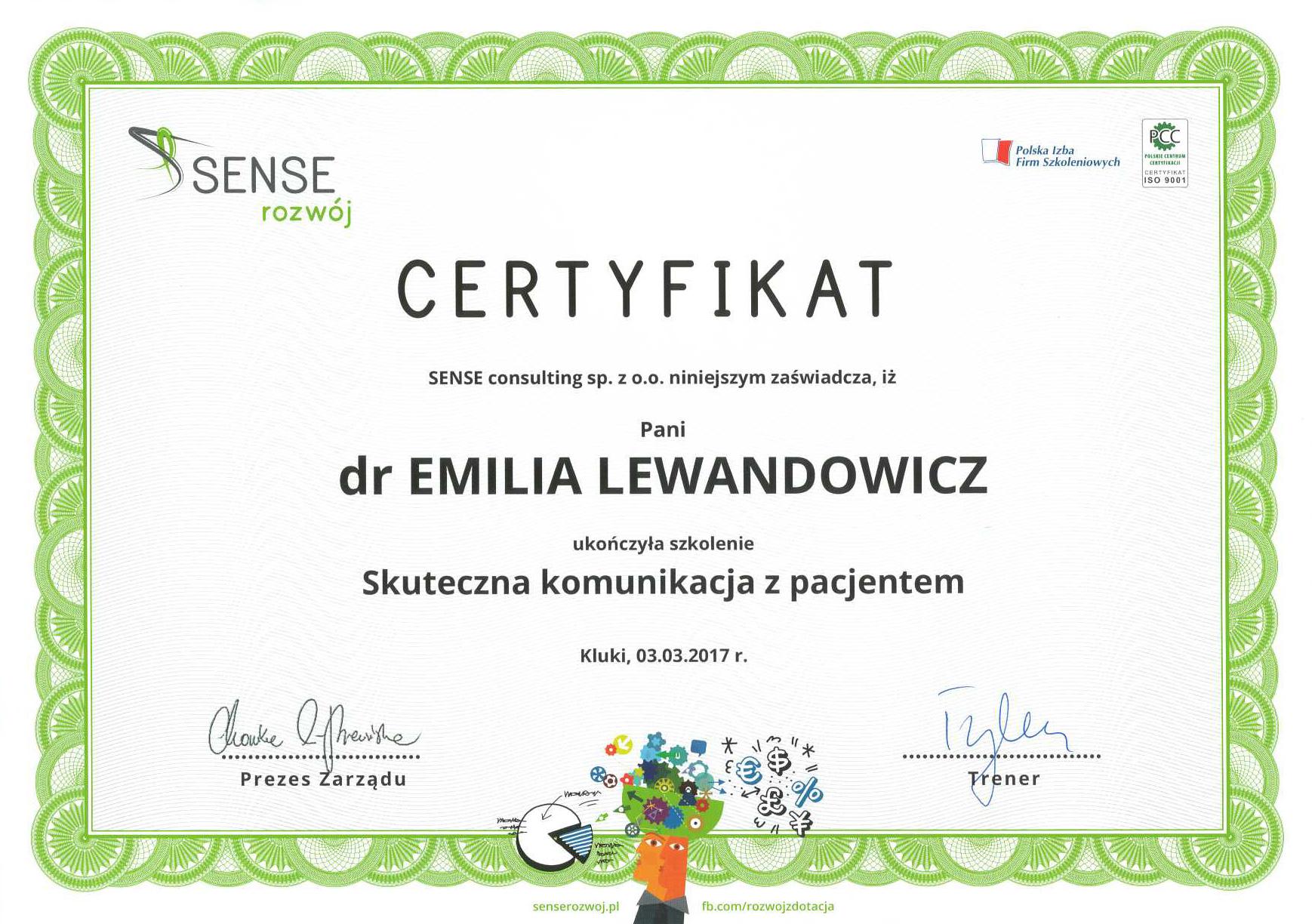 Cert Komunikacja2017 Emi - dr n. med. Michał Lewandowicz