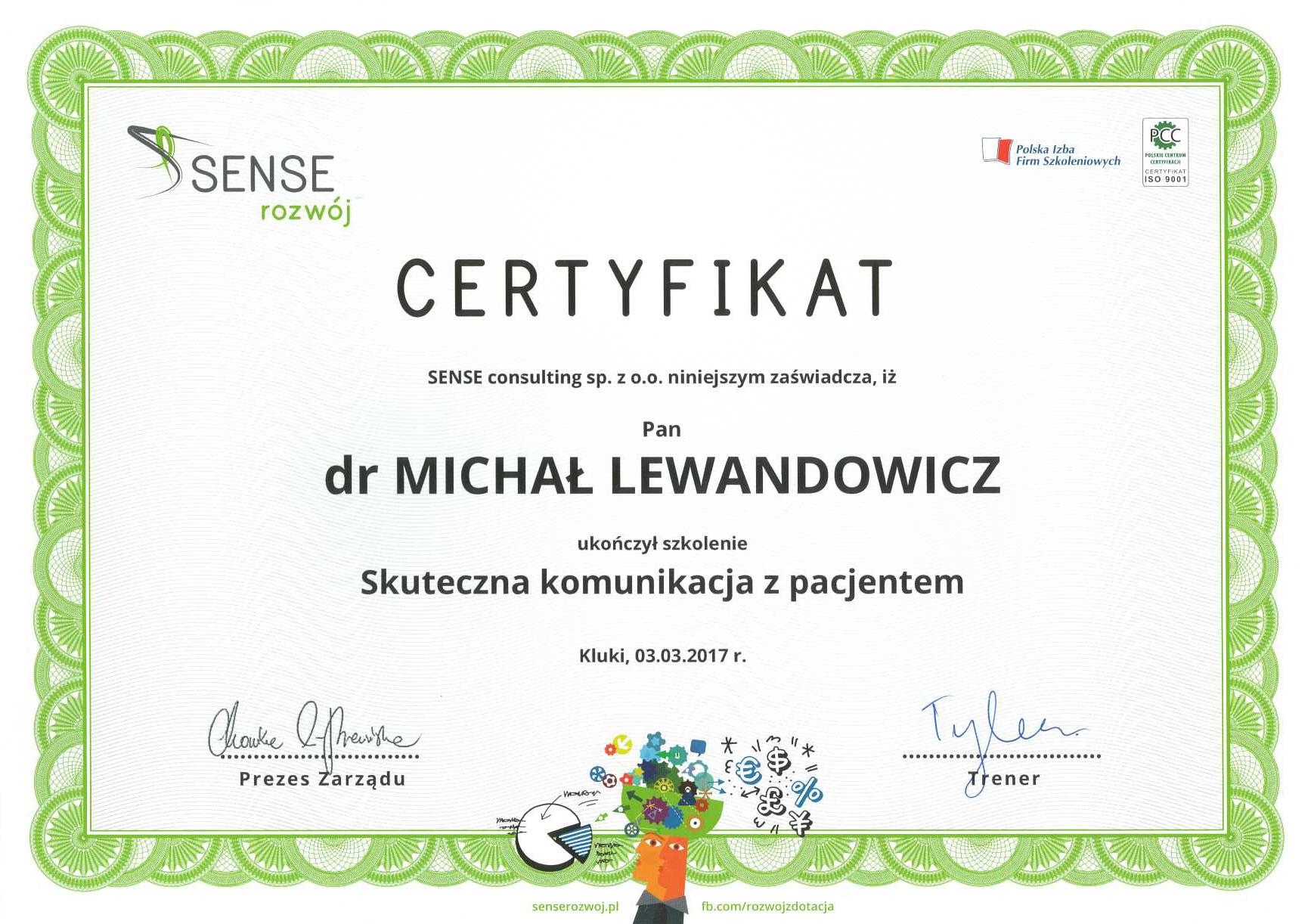 Cert Komunikacja2017 Mi - dr n. med. Michał Lewandowicz