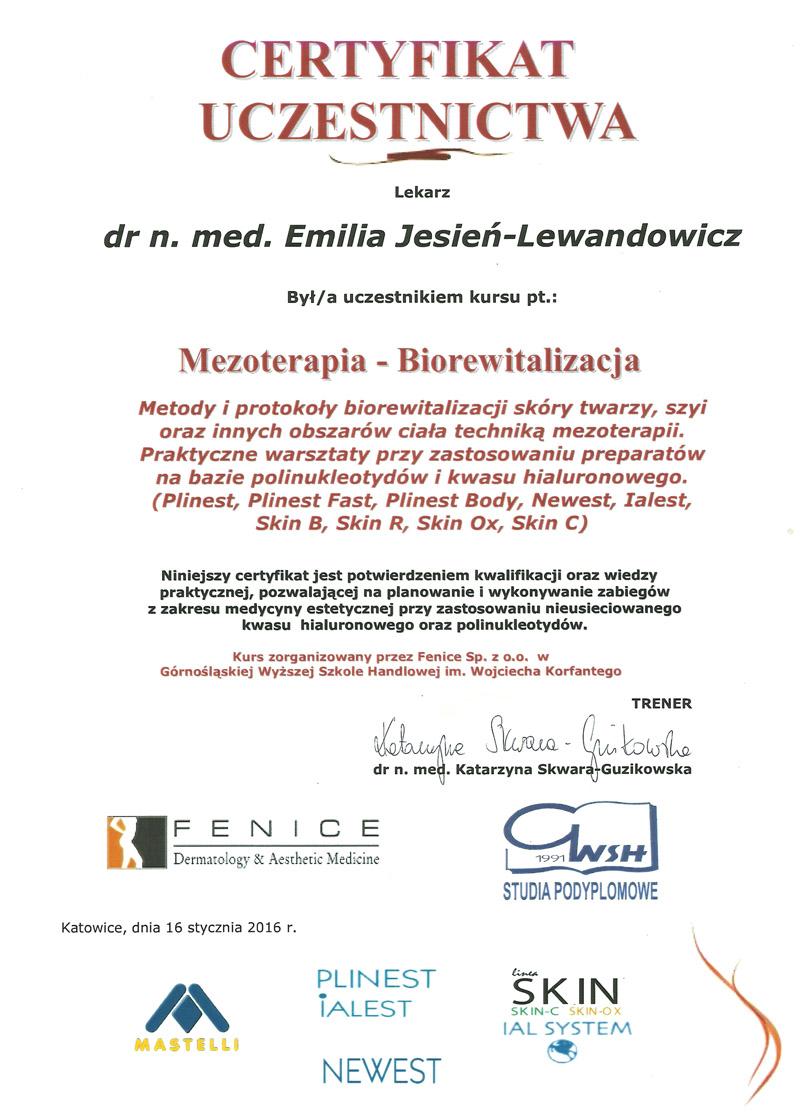 Cert Mezoterapia sml - dr n. med. Emilia Jesień-Lewandowicz