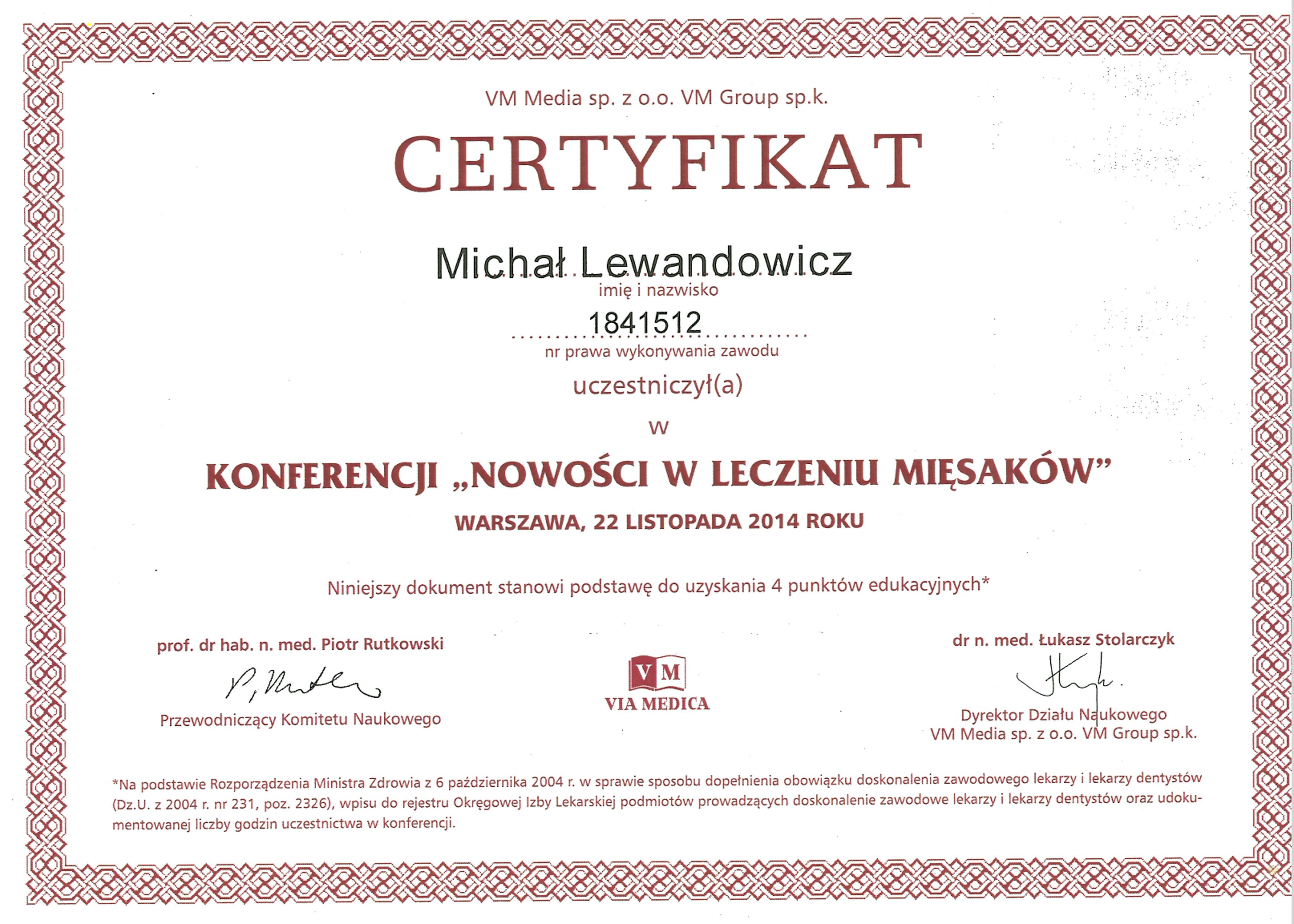 Cert Mi�saki 2014 - dr n. med. Michał Lewandowicz