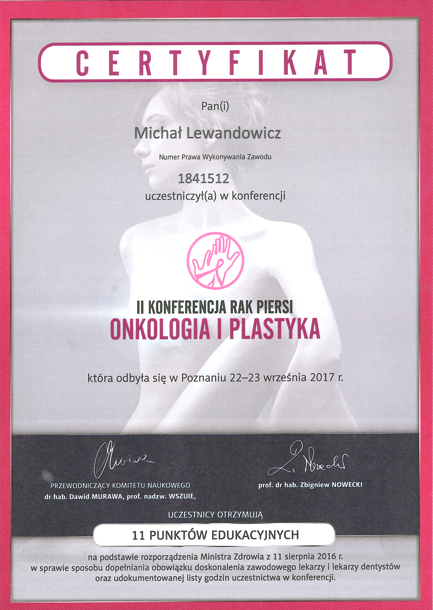 Cert OnkologiaiPlastyka 2017 - dr n. med. Michał Lewandowicz