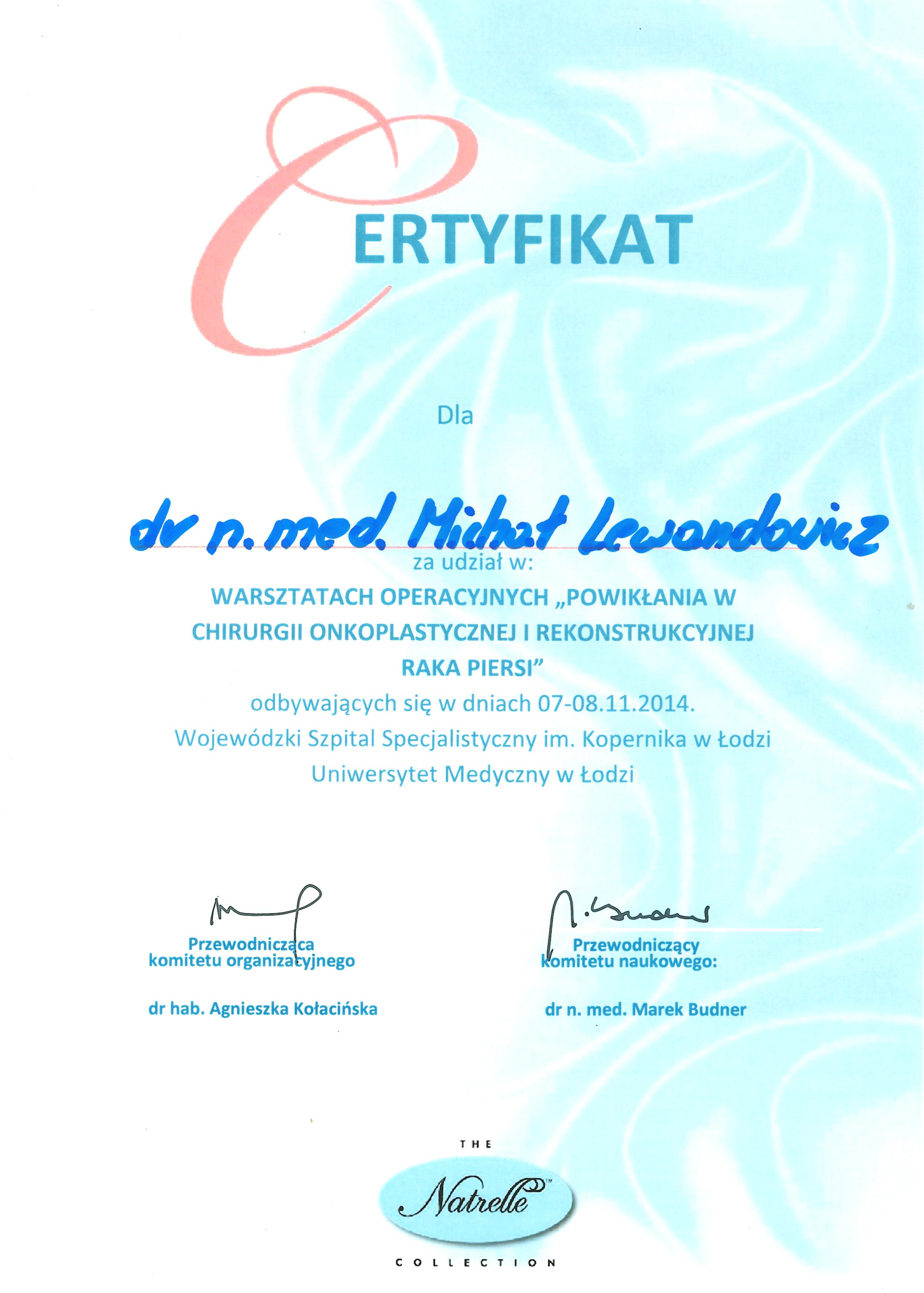 Cert Onkoplast 2014 - dr n. med. Michał Lewandowicz