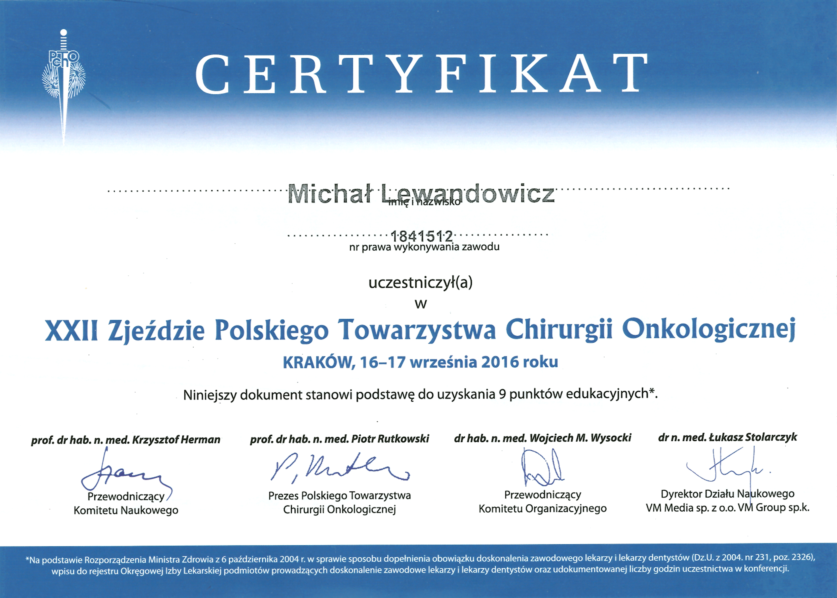 Cert PTChO 2016 - dr n. med. Michał Lewandowicz