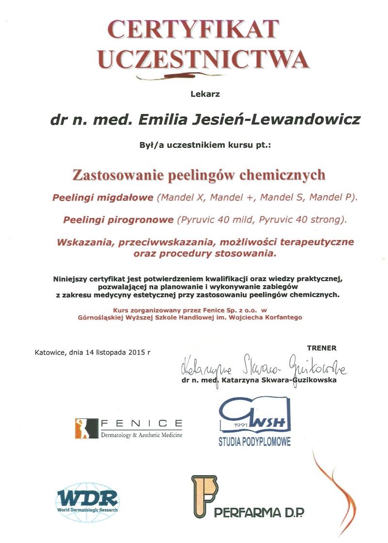 Cert Peel chem sml - dr n. med. Emilia Jesień-Lewandowicz