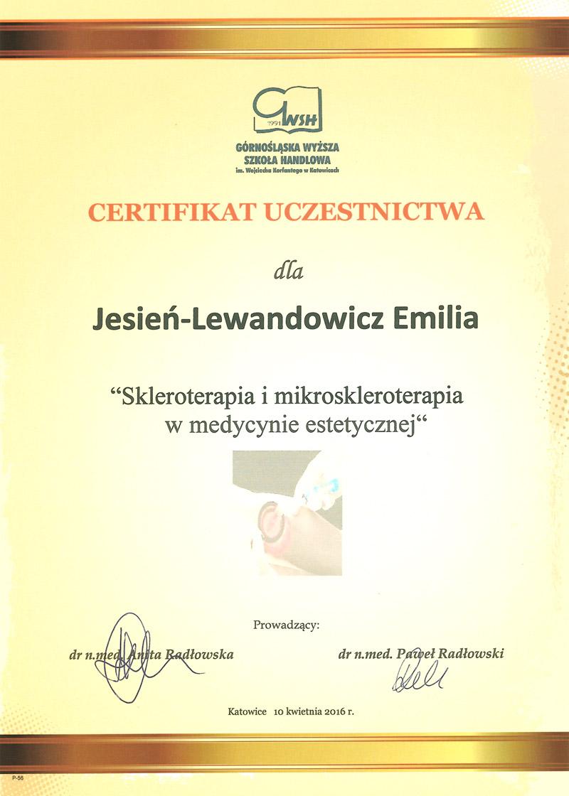 Cert Skleroterapia sml - dr n. med. Emilia Jesień-Lewandowicz