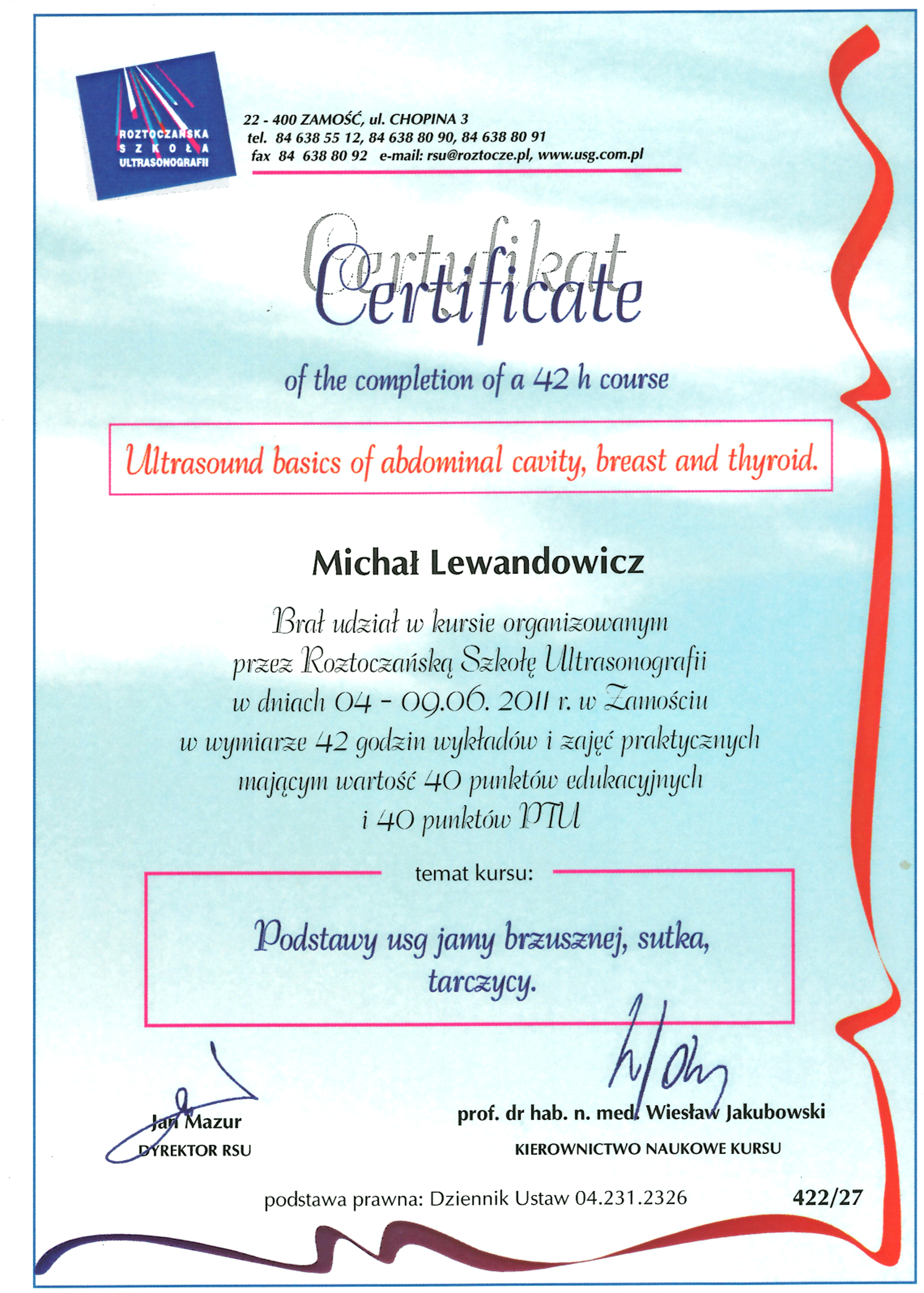 Cert USG - dr n. med. Michał Lewandowicz