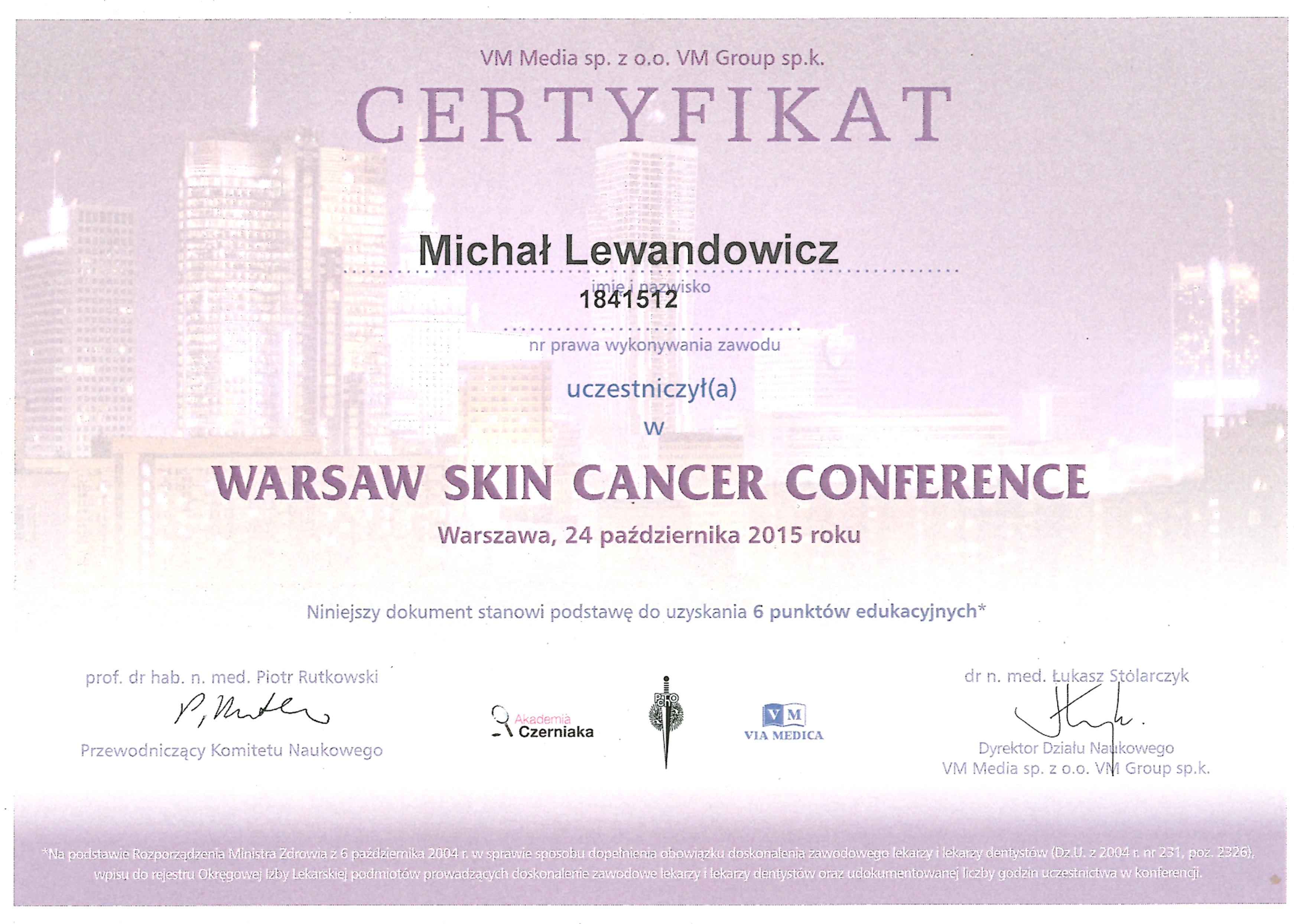 Cert Waw Skin Ca 2015 - dr n. med. Michał Lewandowicz
