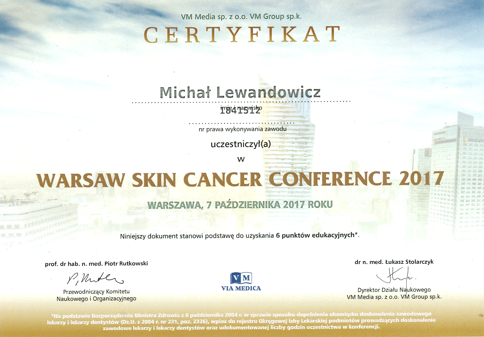 Cert Waw Skin Ca 2017 - dr n. med. Michał Lewandowicz