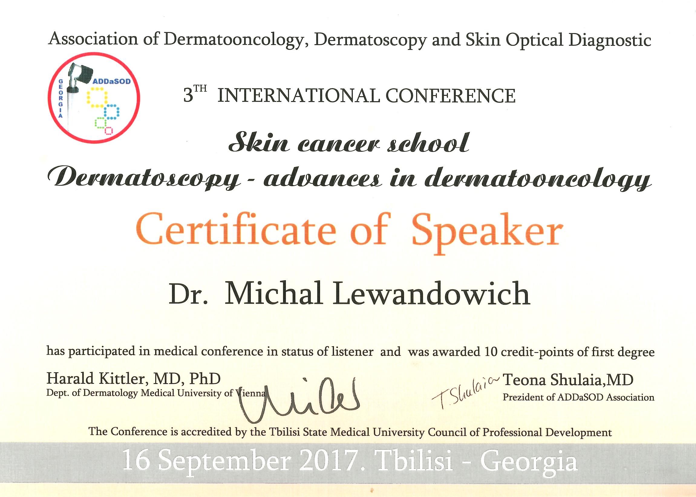 Cert speaker Tblisi2017 - dr n. med. Michał Lewandowicz