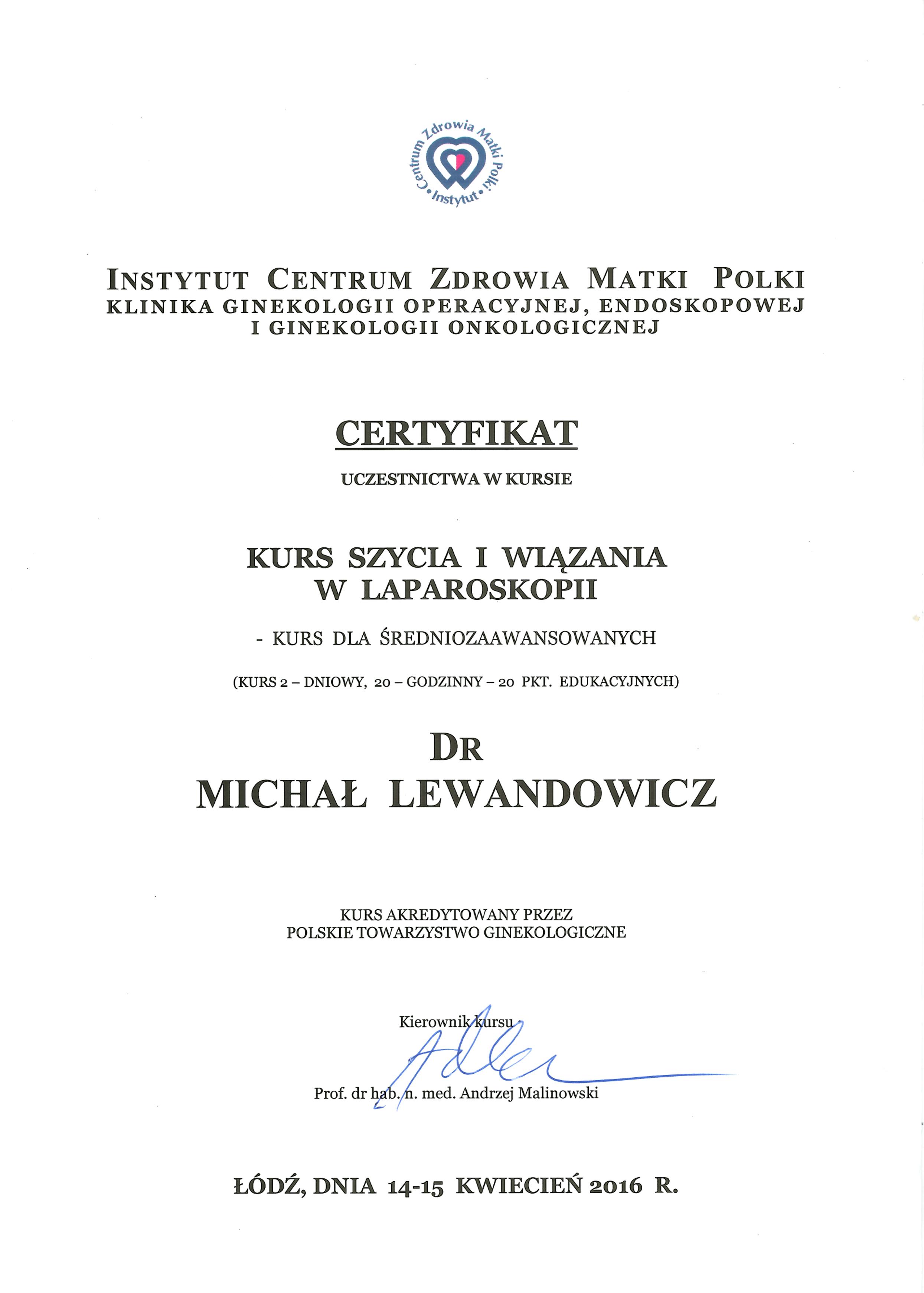 Cert szycie laparoskopowe - dr n. med. Michał Lewandowicz