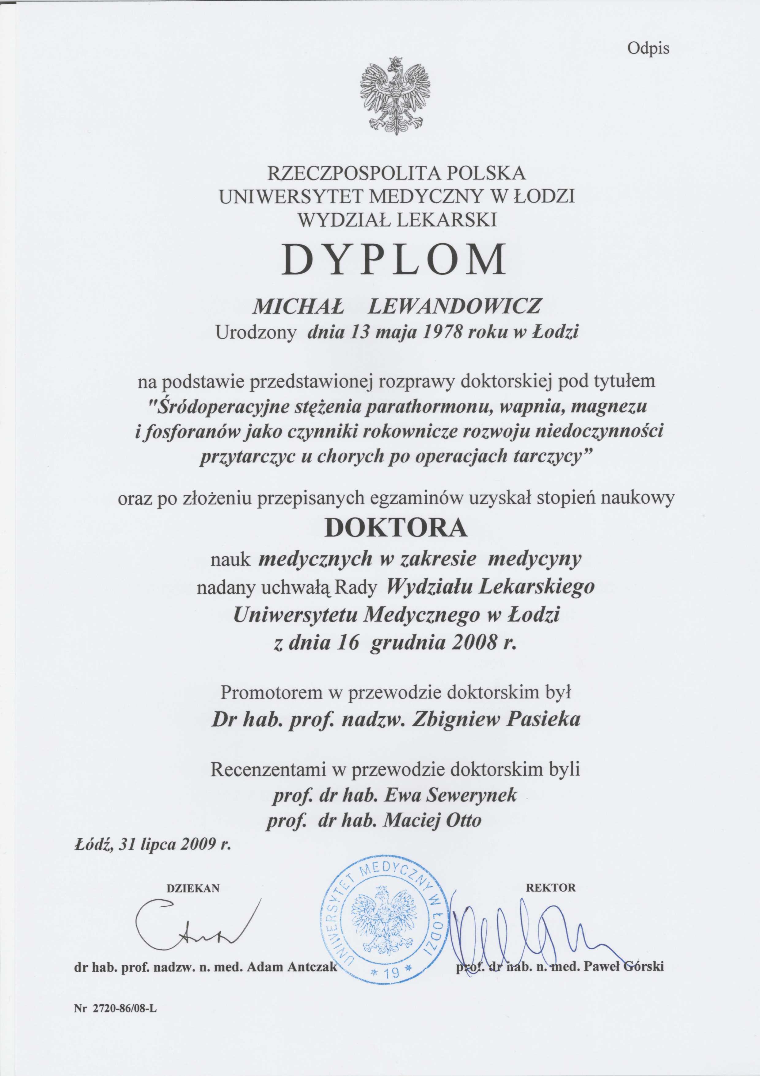 Doktorat - dr n. med. Michał Lewandowicz