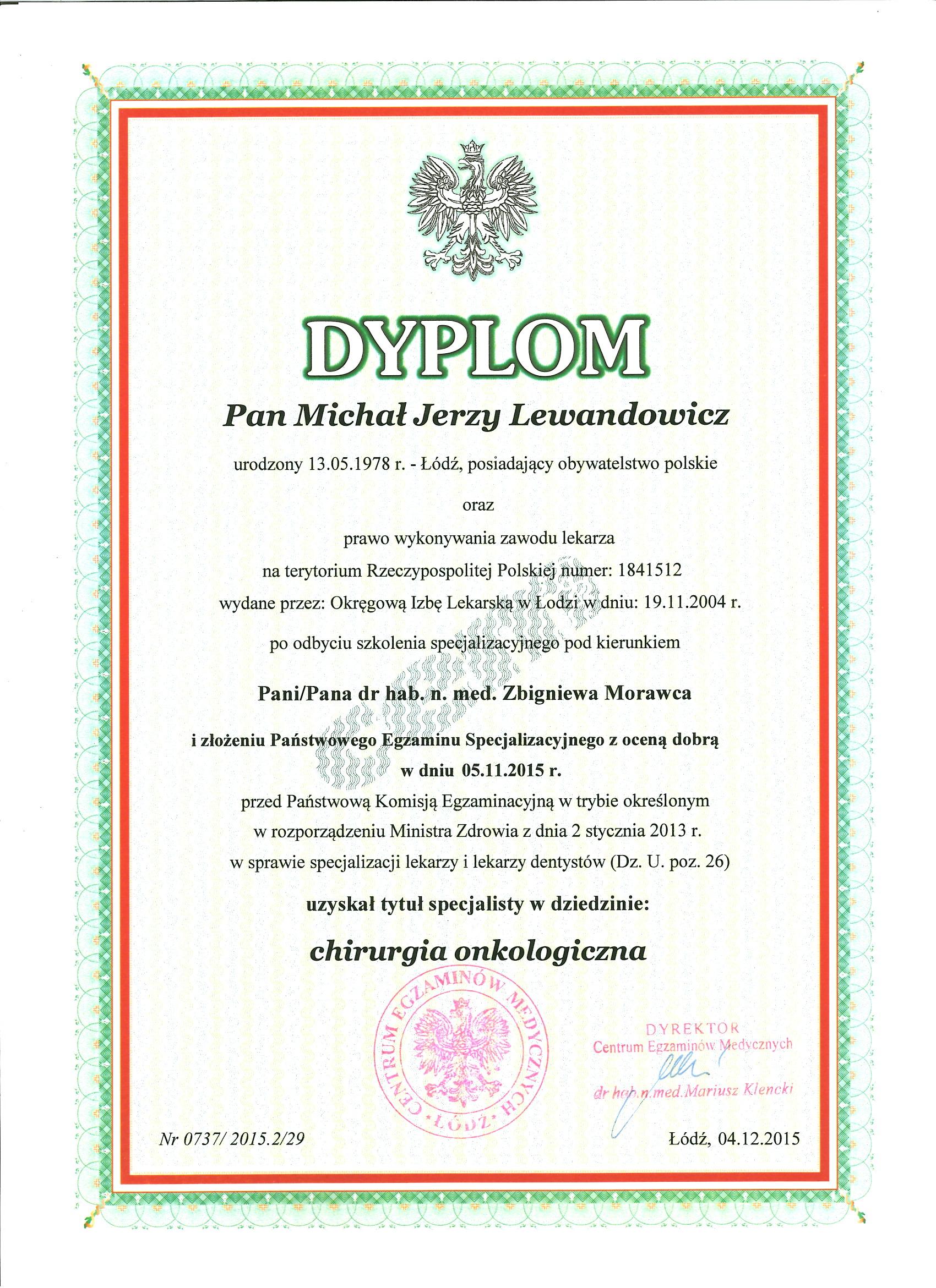 Spec chir.onko  - dr n. med. Michał Lewandowicz